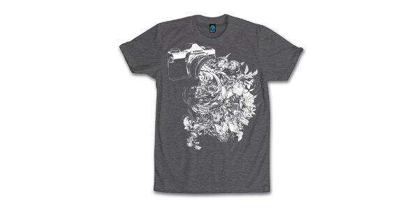 Pánske tmavo šedé tričko s kvitnúcim objektívom Dephect