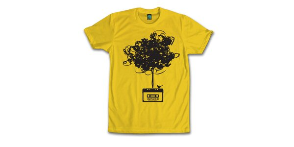 Pánske banánovo žlté tričko s vymotanou kazetou Dephect
