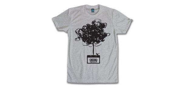 Pánske šedé tričko s vymotanou kazetou Dephect