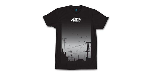 Pánske čierne tričko s hejnom vtáčkov Dephect