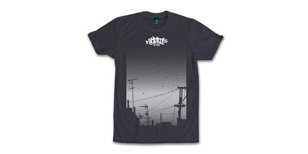 Pánske antracitové tričko s hejnom vtáčkov Dephect