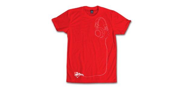 Pánske červené tričko so sluchátkovou hádankou Dephect