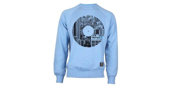 Pánska svetlo modrá mikina s potiskom vinylu Dephect