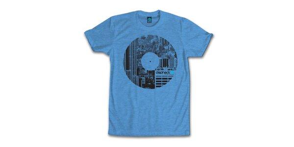 Pánske modré tričko s potiskom vinylu Dephect