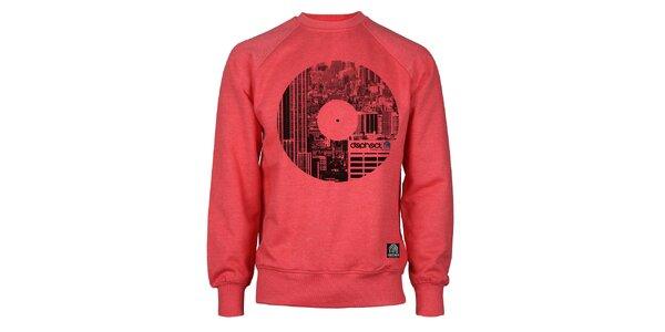 Pánska červená mikina s potiskom vinylu Dephect