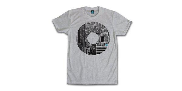 Pánske šedé tričko s potiskom vinylu Dephect