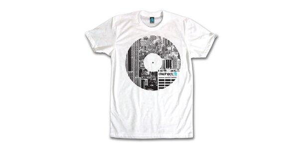 Pánske biele tričko s potiskom vinylu Dephect
