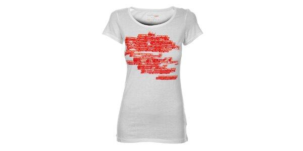 Dámske biele tričko Calvin Klein s červenou potlačou