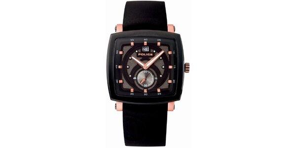 Pánske hranaté čierne analógové hodinky Police