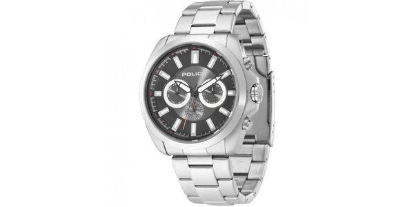 Pánske strieborné analógové hodinky s chronografom Police