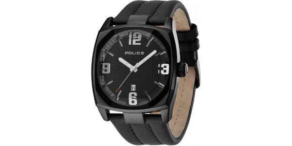 Pánske čierne analógové hodinky s koženým remienkom Police