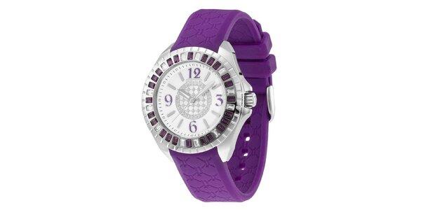 Dámske analógové hodinky s fialovým remienkom Police