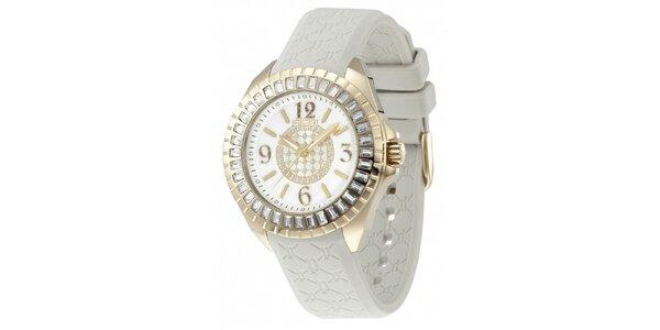 Dámske pozlátené analógové hodinky s bielym remienkom Police