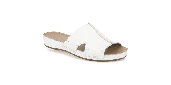 Dámske biele kožené šľapky Clarks