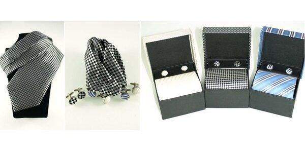 Darčeková sada, kravata s manžetovými gombíkmi a vreckovkou - na výber viac ako…
