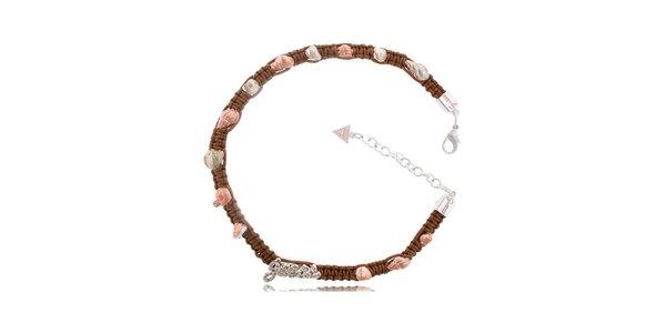 Dámsky textilný náhrdelník Guess s perleťovými lastúrkami
