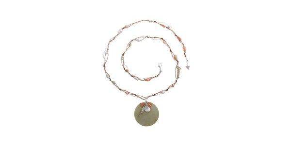 Dámsky oceľový náhrdelník Guess s lastúrami