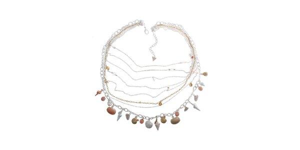 Dámsky oceľový náhrdelník Guess s lastúrami a retiazkami
