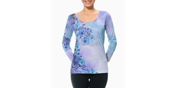 Dámske fialovo-modré tričko s kvetinovým rukávom Smash