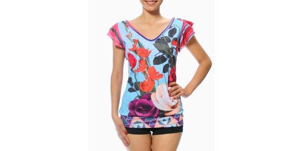 Dámske modré tričko s kvetinovou potlačou Smash