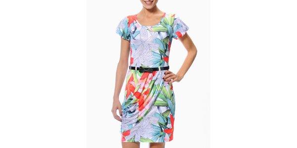 Dámske zeleno-oranžové šaty s exotickými kvetmi Smash