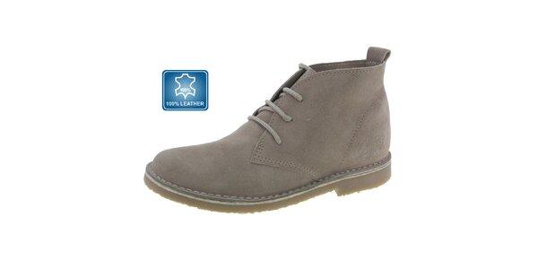 Dámske šedo-béžové kožené členkové topánky Beppi