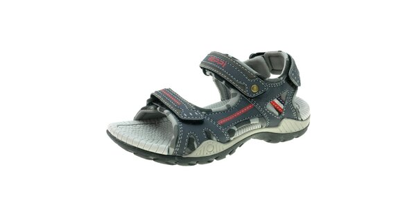 Dámske modro-šedé sandále s červenými detailmi Beppi
