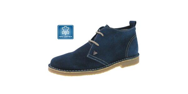 Dámske tmavo modré kožené členkové topánky Beppi