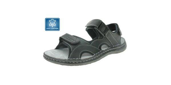 Pánske šedo-čierne kožené sandále Beppi