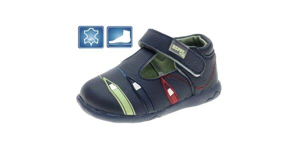 Detské modré kožené topánky Beppi