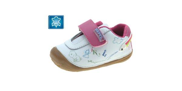 Dievčenské biele topánočky s ružovou prackou Beppi