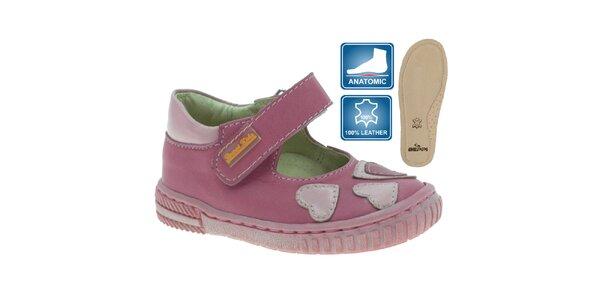Dievčenské kožené topánky so srdiečkami Beppi