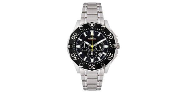 Pánske strieborné hodinky s čiernym ciferníkom a chronografom Rotary