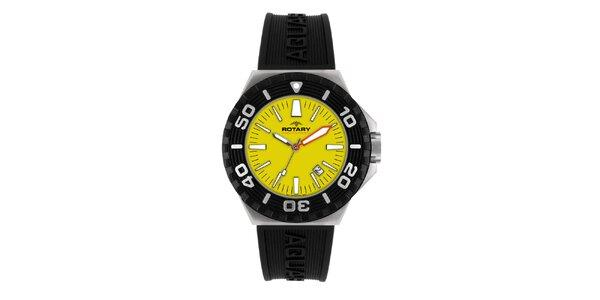 Pánske čierne analogové hodinky so žltým ciferníkom Rotary
