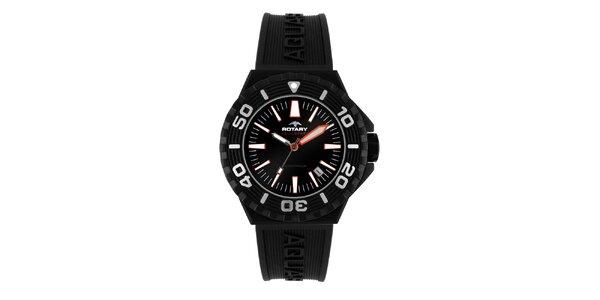 Pánske čierne analogové hodinky s oranžovými akcentmi Rotary
