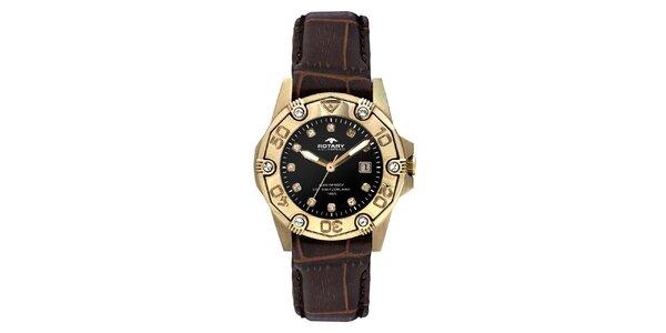 Dámske pozlátené analogové hodinky s koženým remienkom Rotary