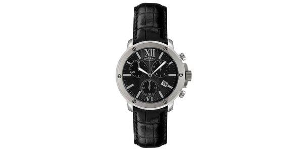 Pánske čierno-strieborné analogové hodinky s chronografom Rotary
