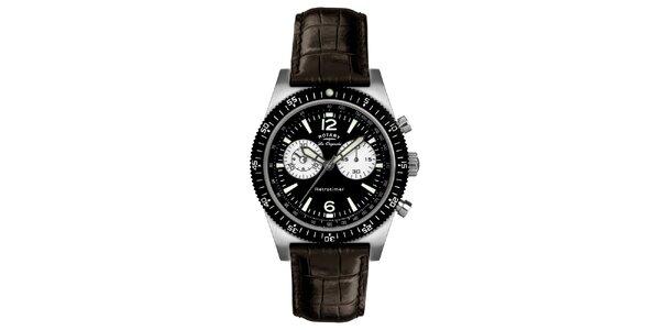 Pánske čierne hodinky s chronografom Rotary