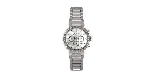 Dámske strieborné guľaté hodinky s chronografom Rotary