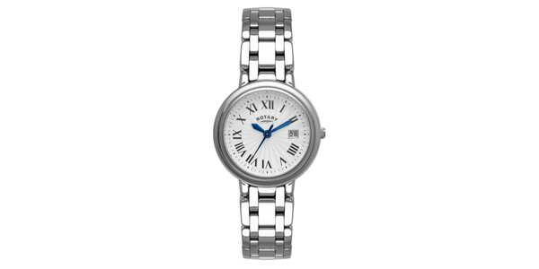 Dámske oceľové analogové hodinky Rotary s modrými ručičkami