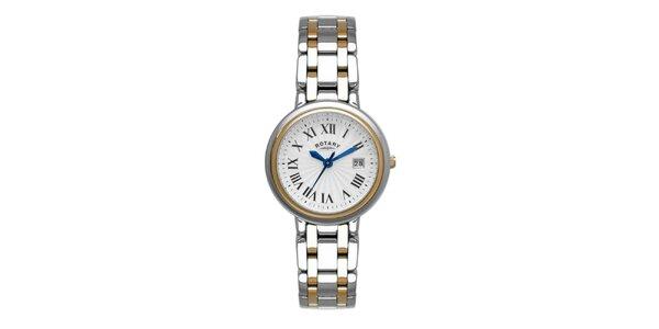 Dámske oceľové strieborno-zlaté hodinky Rotary s modrými ručičkami