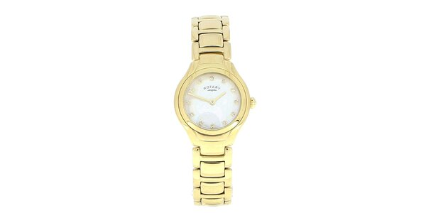 Dámske pozlátené guľaté analogové hodinky Rotary