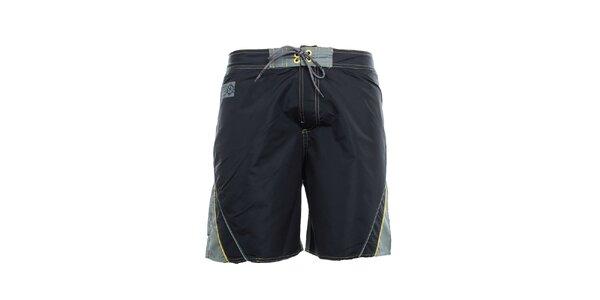 Pánske čierno-šedé kraťasy so žltými detailmi Exe Jeans
