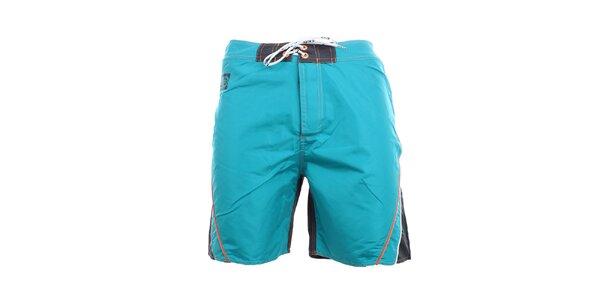 Pánske tyrkysovo-čierne kraťasy s oranžovými detailmi Exe Jeans