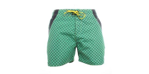 Pánske zelené vzorované plavkové kraťasy Exe Jeans