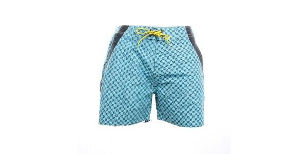 Pánske modré vzorované plavkové kraťasy Exe Jeans