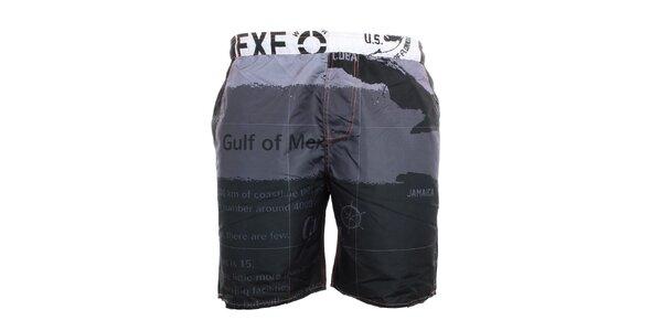 Pánske čierno-šedé plavkové kraťasy Exe Jeans