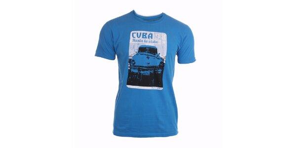 Pánske modré tričko s potlačou Exe Jeans