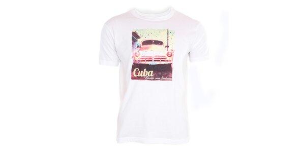 Pánske biele tričko s kubánským motívom Exe Jeans