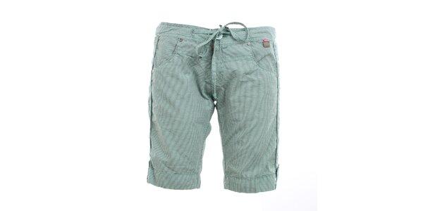 Dámske mätovo zelené šortky s kockami Exe Jeans